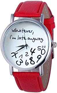 Elegant Watches for Women Fashion Luxury Lady Watch Alphabet Number Pattern Leather Strap Watch Female Belt Watch (Color : Red)
