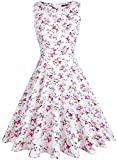 oten Women's Floral Print Wedding Party Prom Cocktail Vintage Dresses 1950s (Small, Pink Floral)