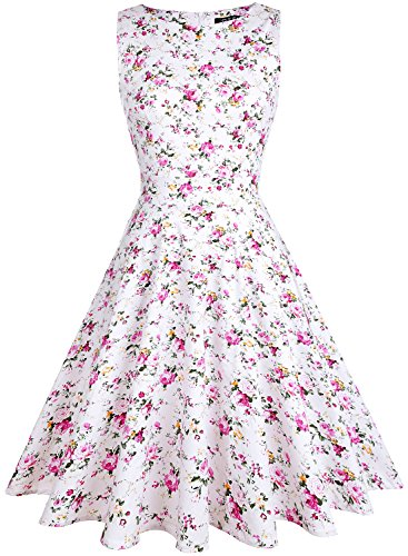 OTEN - Vestido - Noche - Sin Mangas - para Mujer Rosa Floral Rosado XXL