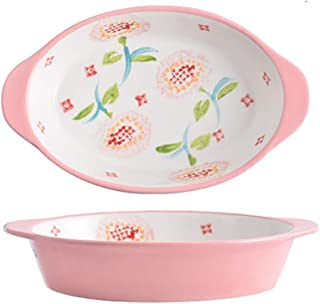 Ceramic 9 Inch Baking Dishes Porcelain Lasagna Plate for home kitchen,22X13.5X4cm gifts (Color : Pink)