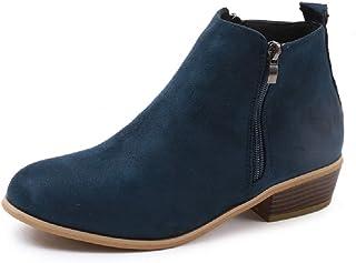 12840dac5f4800 Boots Femme Talon Bottine Femmes Hiver Daim Cuir Bottes Chelsea Low Chic  Cheville Compensées Grande Taille