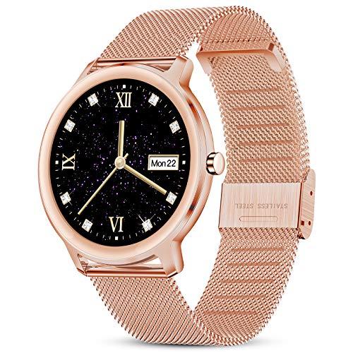 GOKOO Smartwatch Mujer Reloj Inteligente Elegante Dorado Reloj de Fitness IP67 Impermeable Reloj Inteligente Deportivo Pulsómetros Presión Arterial Calorías Compatible con Android iOS…