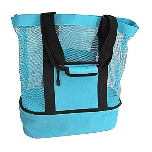 Frdun Bolsa de pícnic o playa, 2 en 1, de malla, ligera, para ir de compras, para viajes al aire libre