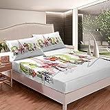 Juego de sábanas con diseño de torre Eiffel para niños y niñas, juego de cama con 1 funda de almohada, 2 piezas, cama individual