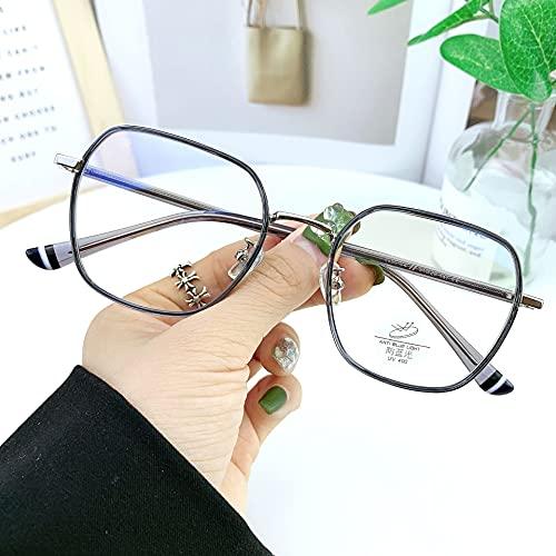 yqs Gafas de Lectura, Gafas de luz Azul TR Ferrula Aley Computer Transparent Nerd Frames Unisex Plain Spectacles (Color : C1 Clear Gray, Size : +200)