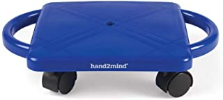 hand2mind 66189 Blue Indoor Scooter Board with Safety Handles for Kids Ages 6-12, Plastic Floor Scooter Board with Roller...