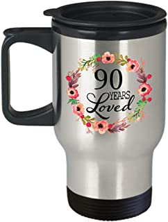 90th Birthday Gifts for Women - Gift for 90 Year Old Female - 90 Years Loved Since 1929 - Travel Mug Stainless Steel for Wife Mom Nana Grandma Her
