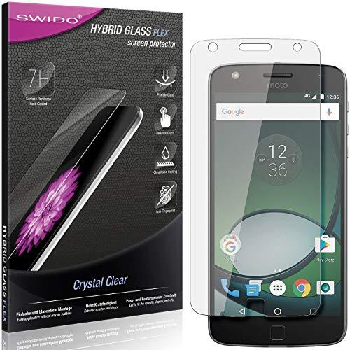 SWIDO Panzerglas Schutzfolie kompatibel mit Lenovo Moto Z Play Bildschirmschutz-Folie & Glas = biegsames HYBRIDGLAS, splitterfrei, Anti-Fingerprint KLAR - HD-Clear