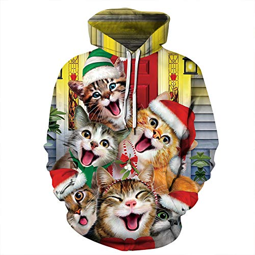 Gloria&Sarah Cat Ugly Christmas Sweater for Women Plus Size Funny Cute Smile Cat Plus Size Hooded Sweatshirts 4X