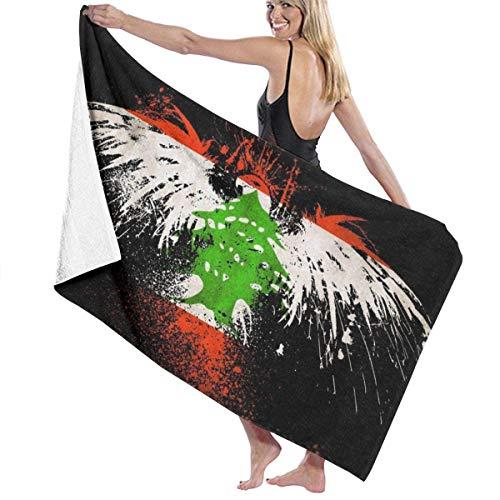 Toallas de Playa de Microfibra con Bandera de águila libanesa Toallas de Piscina de SPA súper absorbentes de Secado rápido para Nadar al Aire Libre