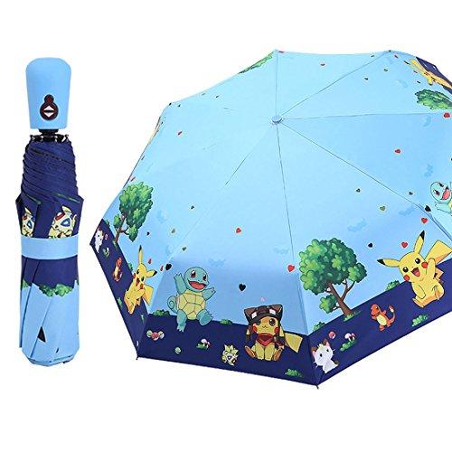 AloveTree Kids Folding Umbrella Automatic Open Cartoon Travel Umbrella Compact Windproof for Girls Boys