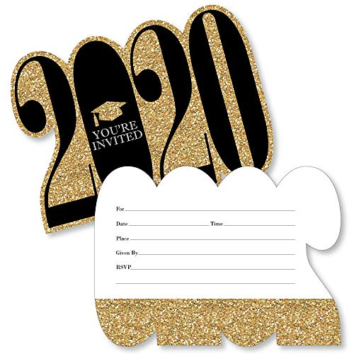 Gold and Black 2019 Graduation Invitations