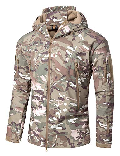 YFNT Tactical Jackets for Men Military Softshell Fleece Hooded(L, Cp Camo)