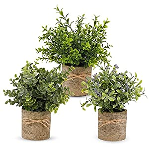 Facibom 3 Pack Artificial Potted Plants,Faux Eucalyptus Plants Topiary Plant Fake Plastic Plant Flower Rosemary Gypsophila Green