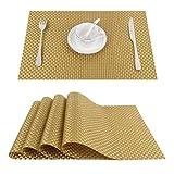 HGGF Mantel de cocina, mantel individual, chimenea, mantel individual, posavasos y posavasos (C-Gold, juego de 4)
