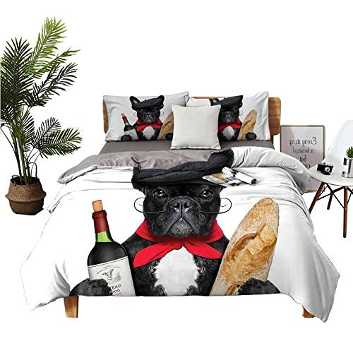 DRAGON VINES 4 Bedding Cover Set TwinSizeBed Cotton Sheets French Dog in a Hat with Red Wine and Baguette Bread Gourmet Parisienne Animal Bed Sheets King Size Deep Pocket Multicolor W90 xL90