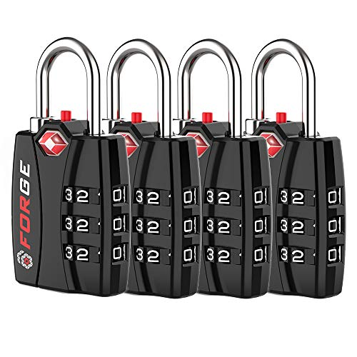 Forge TSA Luggage Combination Lock - Open Alert Indicator, Easy Read Dials, Alloy Body- Ideal for Travel, Lockers, Bags (Black 4Pk)