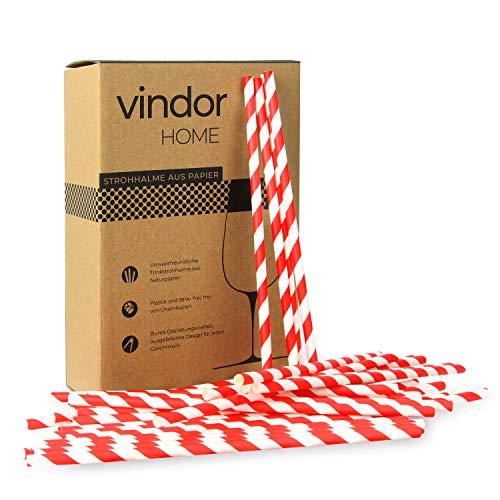 Vindor Papier Strohhalme - 200 Stück - Papierstohhalm Papier Trinkhalme umweltfreundlich, plastikfrei – rot weiß gestreift