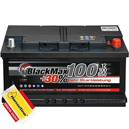 BlackMax Starterbatterie 12V 100Ah Batterie statt 88 90 95 Ah inklusive Polfett