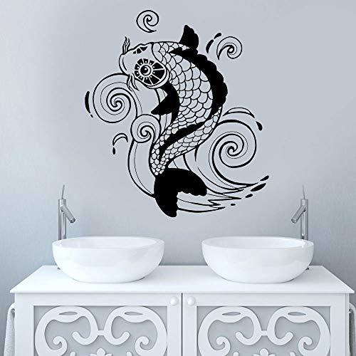 Carpa Wall Sticker Vinile Complementi Arredo Casa Soggiorno Stile Asiatico Zen Arte Giapponese Decalcomania Camera da Letto Bagno Murale Carta da Parati 42x47 cm