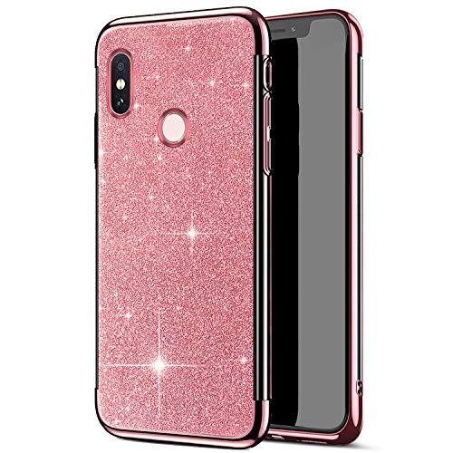 QPOLLY Cover Brillantini Compatibile con Xiaomi Redmi S2, Bling Glitter Scintillante Slim Placcatura Custodia Morbida Sottile Silicone Gel TPU Gomma Bumper Antiurto Protettiva Cover,Oro Rosa
