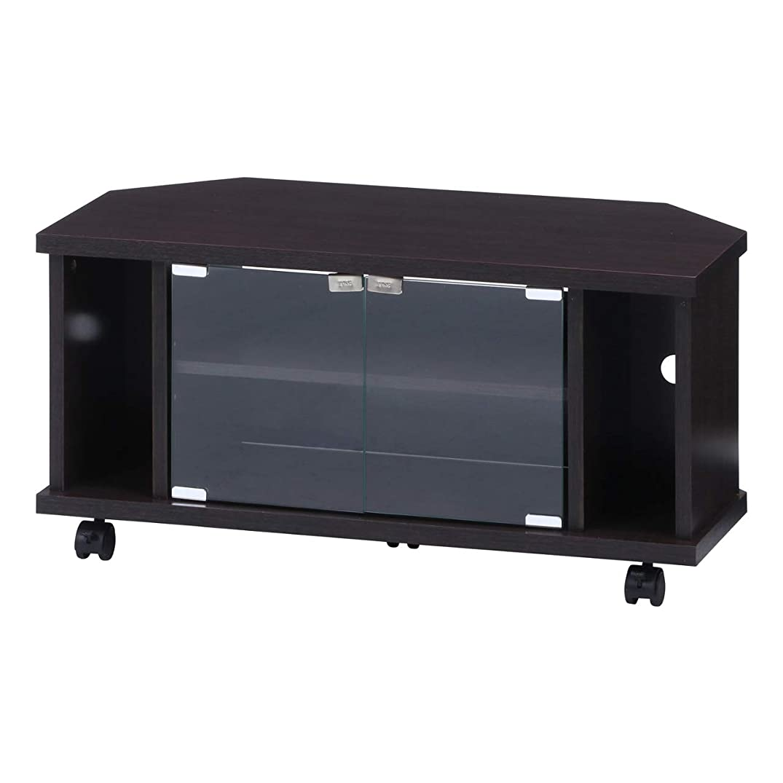 アコードオセアニア検出可能テレビ台 コーナー キャスター付き 32型 dvd 収納 ほこり防止 ガラス扉 ブラウン
