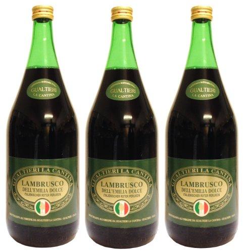 Lambrusco rosso dolce Gualtieri Dell`Emilia IGT (3 X 1,50 L) - Vino Frizzante - Roter Süßer Perlwein 7,5{637849514bc27d32f24ebeba76ba177702dfcc42f50762654a57aeb03633a761} Vol. aus Italien