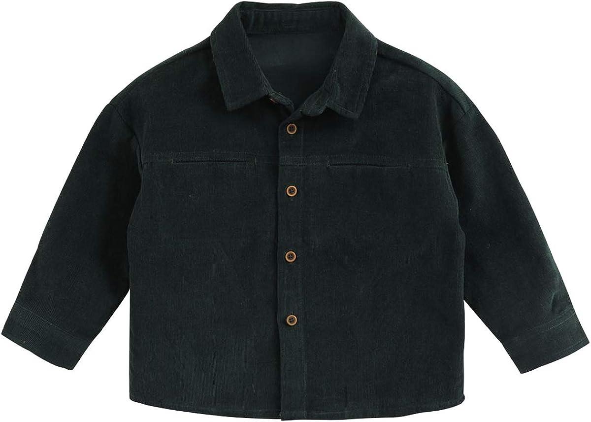 marc janie Baby Boys' Corduroy Long Sleeve Shirt Toddler Boys Button Down Basic Shirt