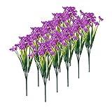 fedsjuihyg Flores Artificiales UV Resistente Plástico, Las Flores Artificiales De 10 Paquetes para El Día Al Aire Libre Verde Arbustos Jardín Púrpura Madres Regalo para Mamá