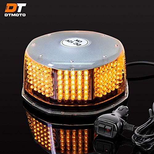 DT MOTO Amber LED Flashing Strobe Beacon Light - Waterproof Magnetic Roof Top Mount Emergency Warning Lights for Forklift Vehicles Trucks Golf Cart Tractors Cars