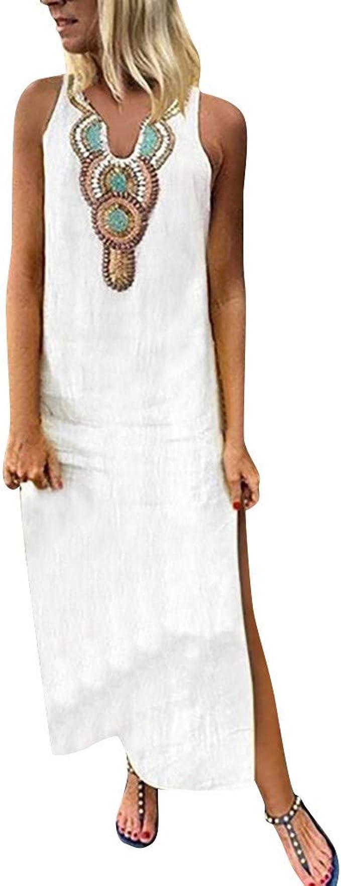 Sannysis Damen Maxikleider Elegantes Armelloses Kleider Sommer Turkischer Stil Boho Strandponcho Maxi Kimono Kaftan Tunika Casual Langes Leinenkleid Amazon De Bekleidung