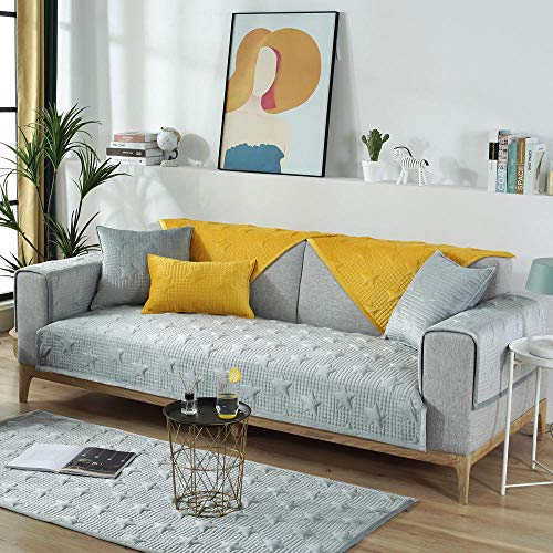 YUTJK Funda se Puede Empalmar de Sofá Funda para sofá Antideslizante Protector Cubierta de Muebles,Funda de sofá de Felpa Estrella de Cinco Puntas,para sofá de Tela,Gris