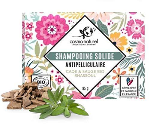 Shampoing solide Bio Antipelliculaire 85G, fabriqué en France par laboratoires Gravier - Rhassoul cade et sauge bio contre les problèmes de sécheresse du cuir chevelu et les pellicules
