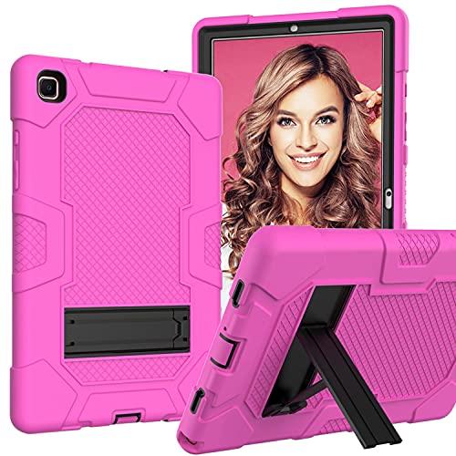 LGQ Custodia Protettiva Tab A7 | Adatto per Samsung Galaxy Tab A7 2020 Modello 10,4 Pollici SM-T500 / T505 Custodia Protettiva Antiurto Ibrida A Corpo Intero per Impieghi Gravosi,Rose Red Black
