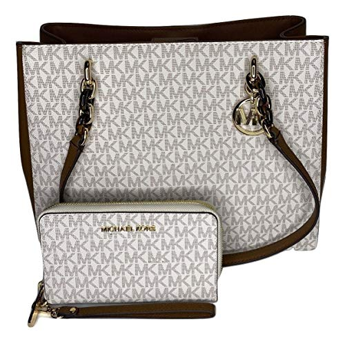 Bundle of 2 items: MICHAEL Michael Kors Sofia Large Shoulder Tote bundled with Michael Kors Jet Set Travel Flat Phone Wristlet/Wallet Double top handles with chain detail in gold, Magnetic snap top closure Interior : 2 main compartment, zipped compar...