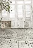 YongFoto 2x3m Vinilo Fondo de Fotografia Puerta de ventana de madera Piso de ladrillo de piedra de...