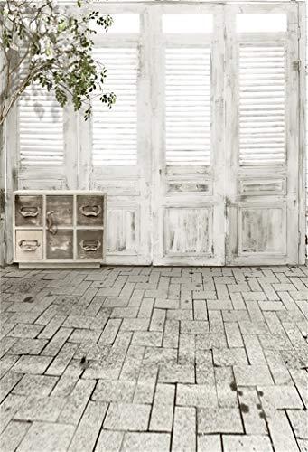YongFoto 2x3m Vinilo Fondo de Fotografia Puerta de ventana de madera Piso de ladrillo de piedra de estilo blanco negro Telón de Fondo Fiesta Boda Adulto Retrato Personal Estudio Fotográfico Accesorios