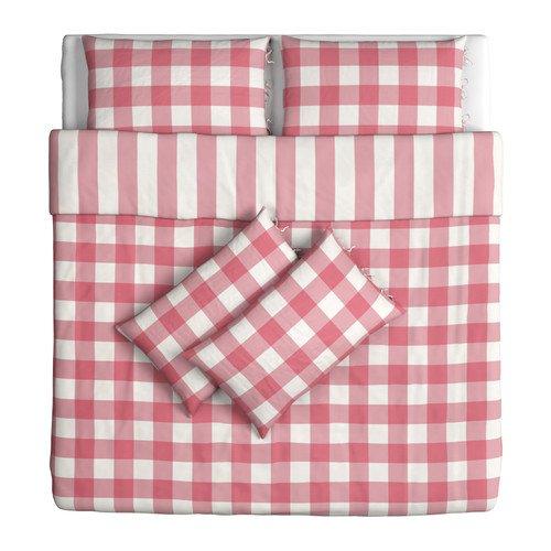 IKEA EMMIE RUTA–Bettbezug und 4Kissenbezüge, Rosa, Weiß–240x 220/50x 80cm