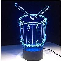 ナイトライトドラムセット3Dイリュージョンナイトライト7色変更タッチテーブルデスクランプアクリル主導デスクテーブルランプパーティーの雰囲気