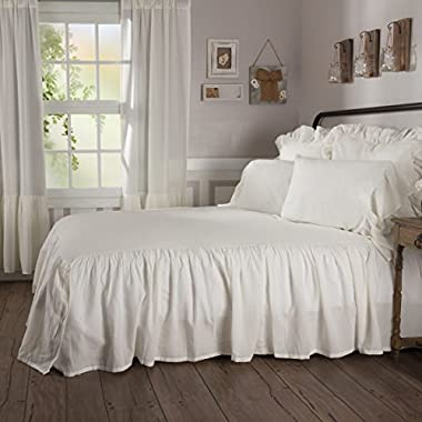 Piper Classics Sophia Ruffled Bedspread, Queen Size, HIgh Skirt on 3 Sides, Antique Cream-White, Lightweight, Farmhouse Style Bedding