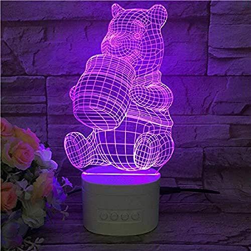 7 couleurs animaux personnages Winnie l'ourson 3D lumière de nuit sommeil lumière USB énergie led Flash enfants chambre décoration anniversaire cadeau-télécommande