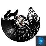 SHDG Reloj de Pared con Registro de Vinilo: decoración de diseño LED/Reloj 3D Sala de Estar Dormitorio Comedor decoración de Pared/diámetro 30 cm