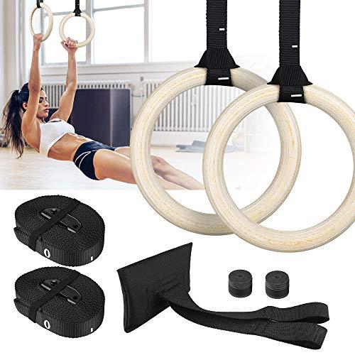 Zacro Gym Ringe Gymnastikringe Holz 700 kg,Verstellbar, Schnalle 15 Fuß Langer Sicherheitsgurt, Gymnastische Ringe für Workouts Fitness Training