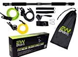 EW SPORTS - Portable Premium Pilates Bar Exercise Resistance Yoga Band | Home Workout Gym Equipment for Men and Women | Pilates Exercise Stick | Weighted Bars for Exercise | Reformer | (Black)