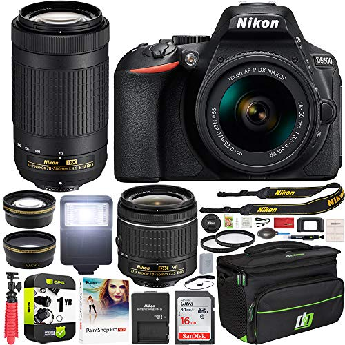 Nikon D5600 DSLR Wi-Fi Digital SLR Camera with Double Zoom 2 Lens Kit AF-P 18-55mm VR & 70-300mm ED + 0.43x Wide Angle Lens + Lens + Case + 1 Year Extended Protection Plan and Accessory Bundle