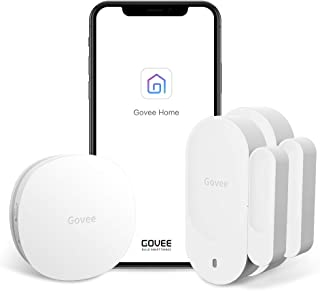 Govee WiFi Door Open Sensor, Wireless Home Security Alarm Works with Amazon Alexa, APP Control and Email Alert Function, 1 Wi-Fi Gateway and 2 Magnetic Door Sensor, No Monthly Fee - Not Support 5G