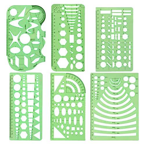 Beada 6 piezas de plantillas de dibujo geométrico, plantillas de medición, moldes de plantillas de construcción, suministros de oficina DIY
