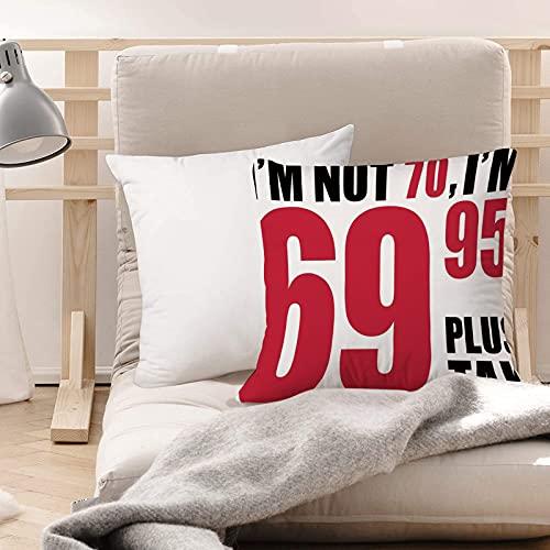Funda de Cojines Suave Poliéster,Decoraciones para el 70 cumpleaños, lema como 69 más cotiz,Funda de Almohada Cremallera Oculta Duradero Decoración para Sofá Cama Dormitorio Aire Libre Oficina 45x45cm