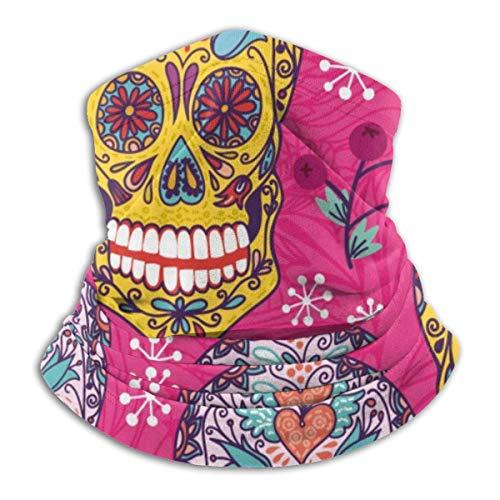 Lawenp Máscara elástica de pasamontañas de calavera de azúcar mexicana con patrón rosa brillante, polaina multifuncional para el cuello para hombres