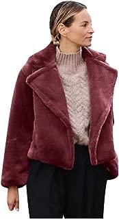 iHHAPY Women's Faux Fur Coat Winter Outerwear Faux Fur Jacket Elegant Short Coat Winter Jacket Overcoat Warm Winter Coat